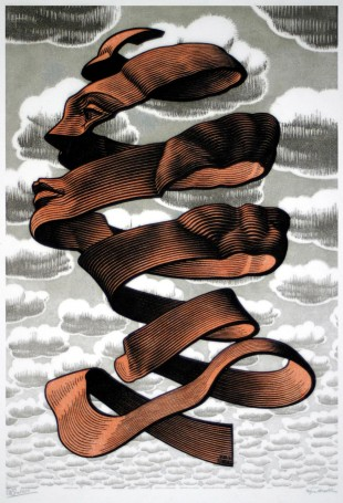 Maurits-Cornelis-Escher-Buccia-maggio-1955-xilografia-di-testa-e-xilografia-in-colori-nero-marrone-grigio-blu-e-grigio-stampata-da-due-blocchi-345x235-mm